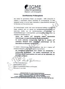 IGME - сертификат, гарантирующий нетоксичность состава тканей Drapilux Air и Drapilux Bioaktiv